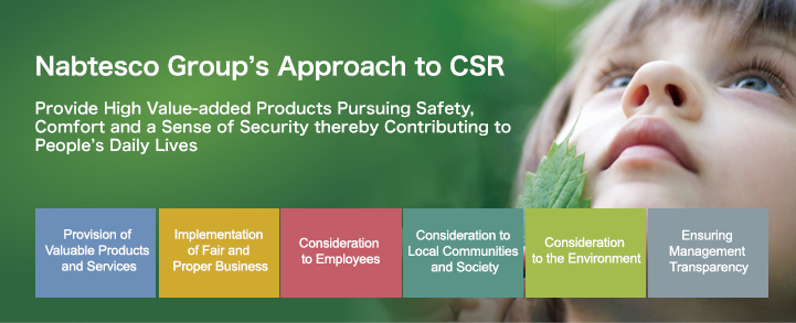 Nabtesco Group's Approach to CSR Provide High Value-added Products Pursuing Safety, Comfort and a Sense of Security thereby Contributing to People's Daily Lives