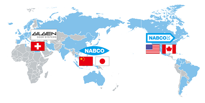 Countries where Nabtesco's automatic doors have been installed